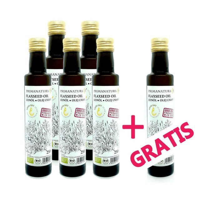 6-PACK - 6 x PRIMANATURA Flaxseed Oil BIO 250ml (1500 ml) - for dr Budiwg diet/protocol